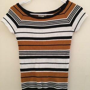 La Hearts Striped Ribbed Bodycon Shirt